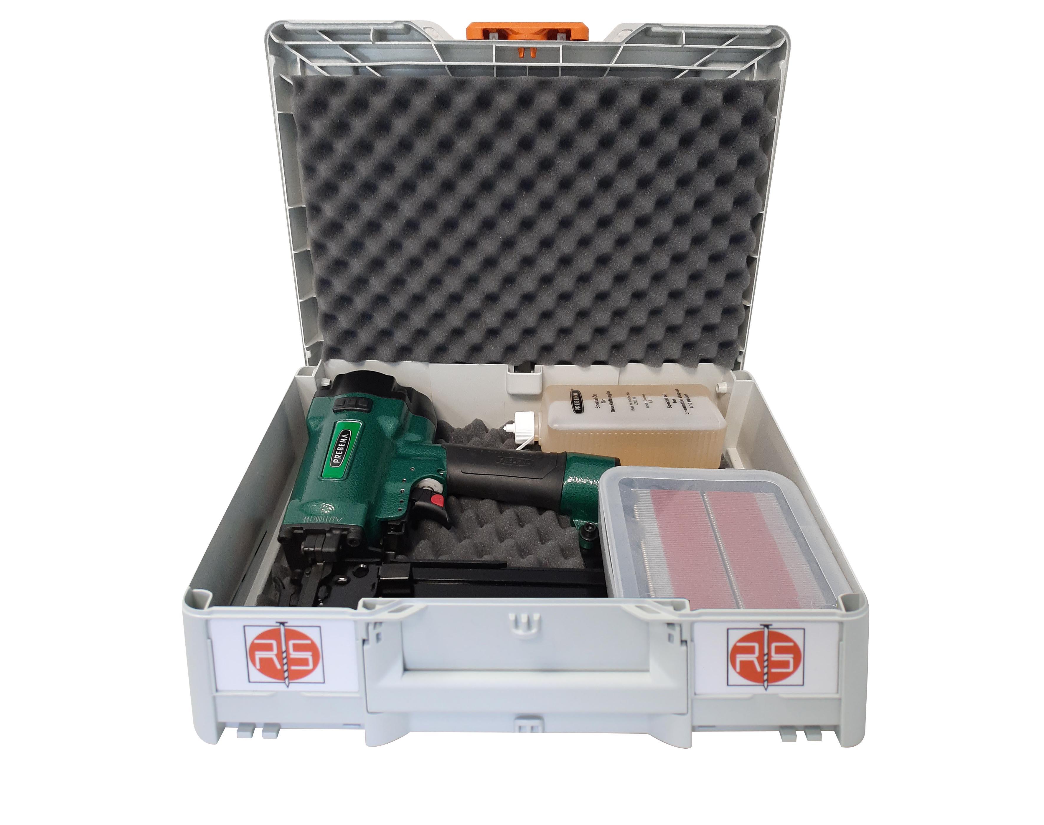 Systainer Box Nr. 20 - Systainer-Koffer mit PREBENA Druckluftnagler 4C-Z50, Heftklammern, Öl & Schut
